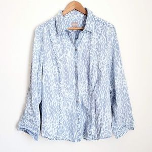 Chico's Animal Print Long Sleeves Button Down Top